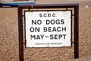 No Dogs On Beach sign, Aldeburgh, Suffolk, England. Aldeburgh has Blue Flag beach status and seeks to maintain beach quality, in part, through this prohibition banning dogs on the beach between May and September.