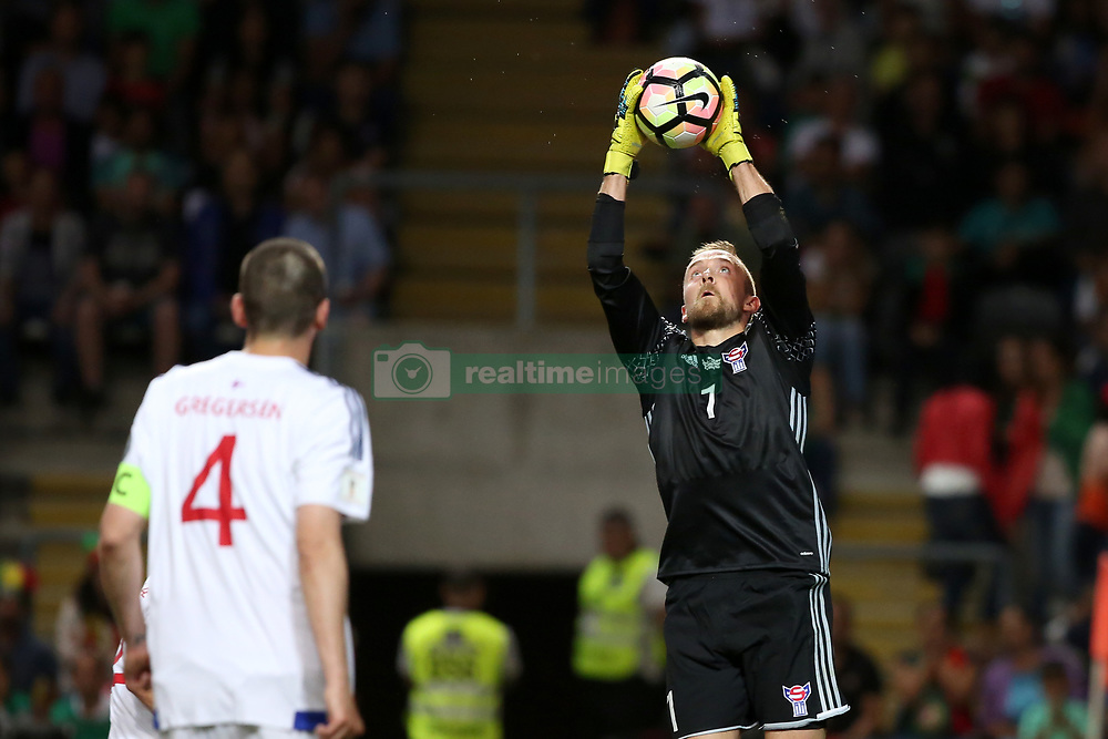 August 31, 2017 - Porto, Portugal - Faroe Islands' goalkeeper Gunnar Nielsen makes a safe during the 2018 FIFA World Cup qualifying football match between Portugal and Faroe Islands at the Bessa XXI stadium in Porto, Portugal on August 31, 2017. (Credit Image: © Pedro Fiuza/NurPhoto via ZUMA Press)