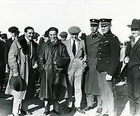 1920 Charles Chaplin (center), Max Linder (left) & Syd Chaplin (right of Charles) at the Chaplin Airdrome at Wilshire Blvd. & Fairfax Ave.