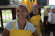 Teresa Abrego, member of COOBANA, works in the quality control section of the banana processing plant. COOBANA, Finca 51, Changuinola, Bocas del Toro, Panamá. September 3, 2012.
