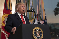 27 October 2019- Washington DC- United States President Donald J. Trump makes a statement at the White House on the death of ISIS leader Abu Bakr al-Baghdadi during a U.S. military raid in Syria. Photo Credit: Chris Kleponis/Pool/ABACAPRESS.COM