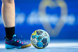 A feature of a ball during handball match between RK Krim Mercator and Thueringer HC in Group Matches of Women's EHF Champions League 2018/19, on October 13, 2018 in SRC Stozice, Ljubljana, Slovenia. Photo by Matic Klansek Velej / Sportida