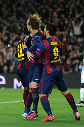 Barcelona's Ivan Rakitic celebrates his goal with Barcelona's Neymar and Barcelona's Luis Suarez - Photo mandatory by-line: Dougie Allward/JMP - Mobile: 07966 386802 - 18/03/2015 - SPORT - Football - Barcelona - Nou Camp - Barcelona v Manchester City - UEFA Champions League - Round 16 - Second Leg