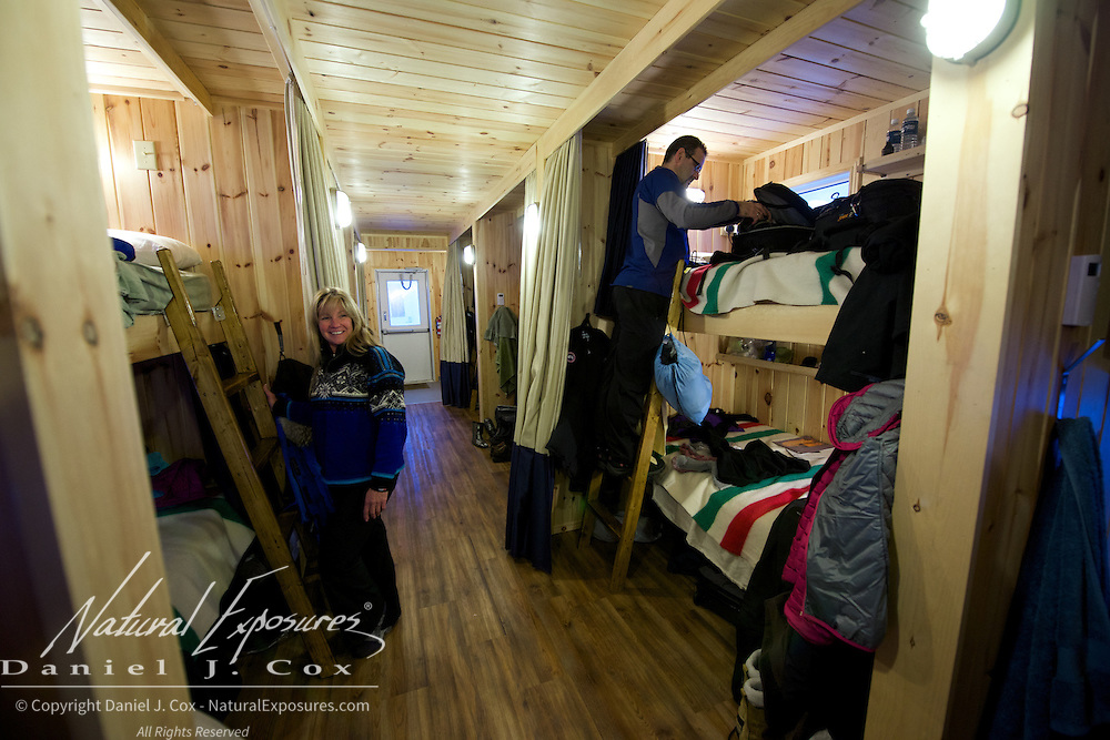 Joanne Simerson in bunkhouse known as Hearn at Tundra Buggy Lodge, Cape Churchill, Manitoba.