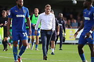AFC Wimbledon manager Neal Ardley walking off the pitch during the EFL Sky Bet League 1 match between AFC Wimbledon and Portsmouth at the Cherry Red Records Stadium, Kingston, England on 13 October 2018.