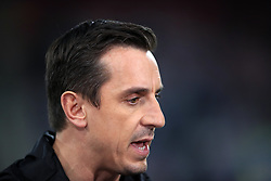"""Sky Sports commentator Gary Neville before the Premier League match at the Vitality Stadium, Bournemouth. PRESS ASSOCIATION Photo. Picture date: Friday September 15, 2017. See PA story SOCCER Bournemouth. Photo credit should read: John Walton/PA Wire. RESTRICTIONS: EDITORIAL USE ONLY No use with unauthorised audio, video, data, fixture lists, club/league logos or """"live"""" services. Online in-match use limited to 75 images, no video emulation. No use in betting, games or single club/league/player publications."""