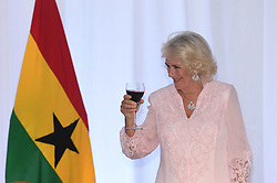 The Duchess of Cornwall takes part in a toast during a State Dinner at Jubilee House, in Accra, Ghana, on day six of the royal trip to west Africa.