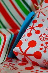 Extreme close up of gift boxes