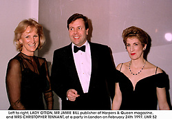 Left to right, LADY OTTON, MR JAMIE BILL publisher of Harpers & Queen magazine, and MRS CHRISTOPHER TENNANT, at a party in London on February 24th 1997.LWR 52