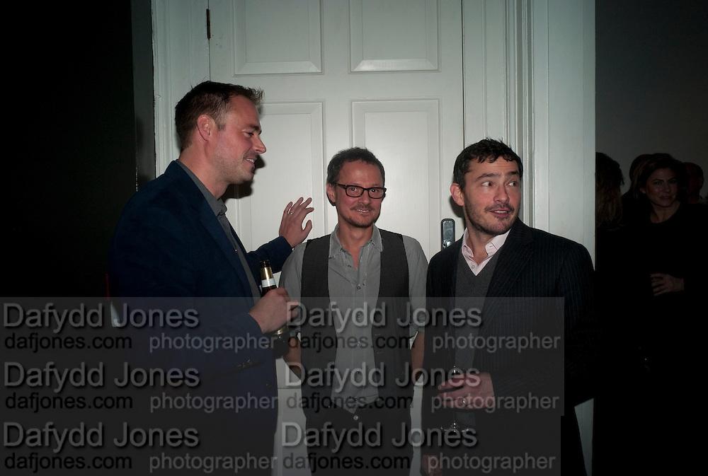 JAMIES THEAKSTON; JONATHAN YEO; GILES COREN; , ' You're Only Young Twice' Jonathan Yeo exhibition. Lazarides. 11 Rathbone Place. London. 9 December 2011.
