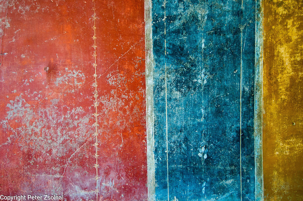 An amazing painted wall in Pompei that has been preserved in an amazing quality