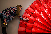 Kazuo Shiraga(Japanese, born 1924)Untitled (Red Fan)<br /> 1964 - Bonhams previews works from its Africa Now sail - the first contemporary sale of African artists - and its Gutai and ZERO exhibition. In their offices on New Bond Street.