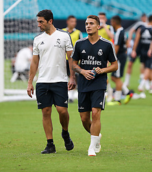 July 30, 2018 - Miami Gardens, Florida, USA - Real Madrid C.F. defender Luis Miguel Quezada (right) walks with an assistant coach during an open team's training session for the International Champions Cup match between Real Madrid C.F. and Manchester United F.C. at the Hard Rock Stadium in Miami Gardens, Florida. (Credit Image: © Mario Houben via ZUMA Wire)