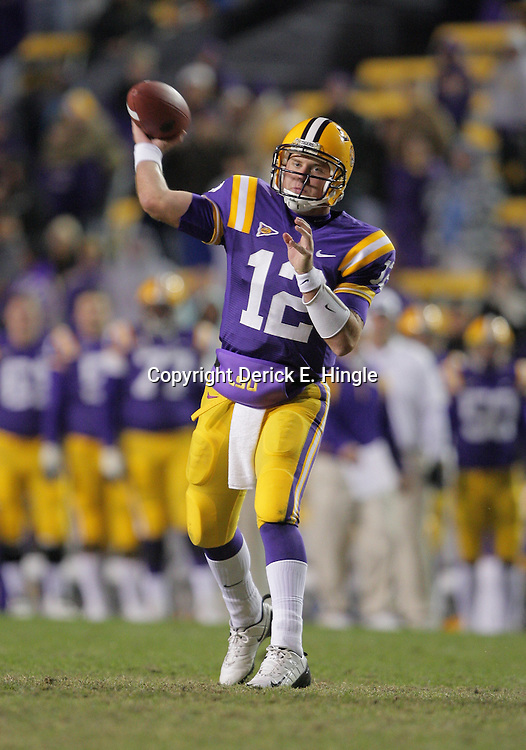 15 November 2008: LSU quarterback Jarrett Lee (12) in action during the LSU Tigers 40-31 come from behind victory over the Troy Trojans at Tiger Stadium in Baton Rouge, LA.