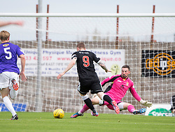 Elgin City's Craig Gunn scoring their goal past East Fife's Ryan Goodfellow. <br /> Half time : East Fife 1 v 1 Elgin City, Ladbrokes Scottish Football League Division Two game played 22/8/2015 at East Fife's home ground, Bayview Stadium.