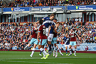 Jonathan Spector of Birmingham City looks to head towards goal but misses the ball completly . Skybet football league championship match, Burnley  v Birmingham City at Turf Moor in Burnley, Lancs on Saturday 15th August 2015.<br /> pic by Chris Stading, Andrew Orchard sports photography.