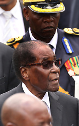 President Robert Mugabe arrives to address mourners gathered for the burial of liberation and national hero Don Muvuti in Harare,Zimbabwe,November 1,2017.Mugabe said that the Southern African nation may soon resume death penalty due to rising in murder cases.Zimbabwe stopped execution in 2015.(Xinhua/Stringer) (Photo by Xinhua/Sipa USA)