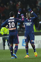 FOOTBALL - FRENCH LEAGUE CUP 2011/2012 - 1/2 FINAL - FC LORIENT v OLYMPIQUE LYONNAIS - 31/01/2012 - PHOTO PASCAL ALLEE / DPPI - CELEBRATION  EDERSON AND ALY CISSOKHO AFTER WIN THE GAME AT THE END OF MATCH