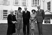 22/08/1963<br /> 08/22/1963<br /> 22 August 1963<br /> Mr Frank Aiken and family with President de Valera at Áras an Uachtaráin. Image shows Sile de Valera; Aedamar Aiken, President Eamon de Valera; Maud Aiken and Frank Aiken. DFA,