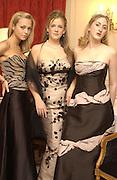 3 English debutantes, Sarah Taylor, Cleo Pakenham and Violet Naylor-Leyland. Eleventh Crillon Haute Couture Ball, Crillon. Paris.   31 November 2001 © Copyright Photograph by Dafydd Jones 66 Stockwell Park Rd. London SW9 0DA Tel 020 7733 0108 www.dafjones.com
