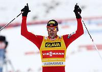 Kombinert<br /> FIS World Cup<br /> Lillehammer<br /> 25.11.2012<br /> Foto: Gepa/Digitalsport<br /> NORWAY ONLY<br /> <br /> FIS Weltcup, 10km Penalty Race. <br /> Bild zeigt den Jubel von Magnus Moan (NOR)