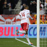 Thierry Henry, New York Red Bulls, runs to the corner flag after scoring his sides third goal during the New York Red Bulls V Houston Dynamo, Major League Soccer regular season match at Red Bull Arena, Harrison, New Jersey. USA. 23rd April 2014. Photo Tim Clayton