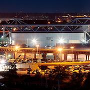 Kemper Arena in West Bottoms district of Kansas City, Missouri at dusk.
