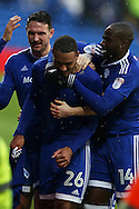 Kenneth Zohore of Cardiff city (c) celebrates with his teammates  after he scores his teams 2nd goal. EFL Skybet championship match, Cardiff city v Fulham at the Cardiff city stadium in Cardiff, South Wales on Saturday 25th February 2017.<br /> pic by Andrew Orchard, Andrew Orchard sports photography.