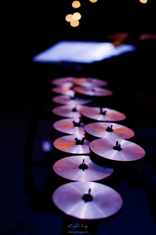 Crotales, small round brass or bronze tuned disks, await the start of Rowan University's 2010 presentation of The Percussion Ensemble and The Marimba Band.