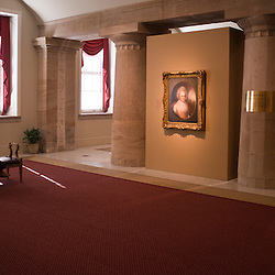 Inside the American Presidents' exhibit in the National Portrait Gallery of the Smithsonian Institution a portrait of Martha Washington is given ample space for observation.