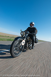 Stu Surr riding his 1926 Rudge during Stage 9 (249 miles) of the Motorcycle Cannonball Cross-Country Endurance Run, which on this day ran from Burlington to Golden, CO., USA. Sunday, September 14, 2014.  Photography ©2014 Michael Lichter.