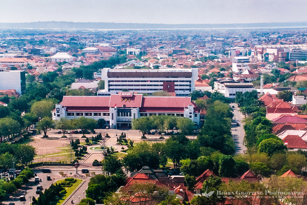 Java, East Java, Surabaya. View of  Surabaya from Garden Palace Hotel.  Town hall in center. Madura in the background.