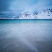 Winter Landscape from Vik Beach, Vik, Vestvågøy, Lofoten Islands, Norway