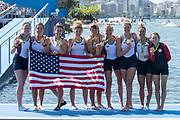 "Rio de Janeiro. BRAZIL     USA W8+. Gold Medalist Bow.  Emily REGAN, Kerry SIMMONDS, Amanda POLK,  Lauren SCHMETTERLING, Tessa GOBBO, Meghan<br /> MUSNICKI, Eleanor LOGAN,  Amanda ELMORE, and cox. Katelin SNYDER, at the, 2016 Olympic Rowing Regatta. Lagoa Stadium, Copacabana,  ""Olympic Summer Games""<br /> Rodrigo de Freitas Lagoon, Lagoa. Local Time 12:25:37  Saturday  13/08/2016<br /> [Mandatory Credit; Peter SPURRIER/Intersport Images]"