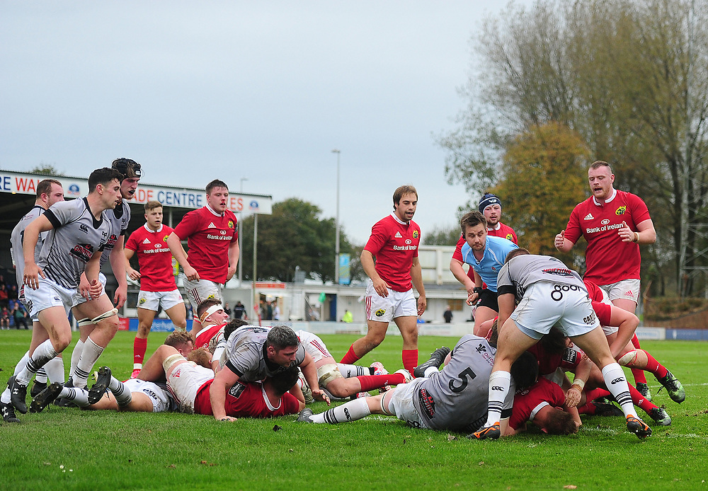 TRY - Munster A's Gavin Coombes scores his sides second try<br /> <br /> Photographer Ashley Crowden/CameraSport<br /> <br /> The British & Irish Cup Pool 1 - Ospreys Premiership Select v Munster A - Saturday 14th October 2017 - St Helen's, Swansea<br /> <br /> World Copyright © 2017 CameraSport. All rights reserved. 43 Linden Ave. Countesthorpe. Leicester. England. LE8 5PG - Tel: +44 (0) 116 277 4147 - admin@camerasport.com - www.camerasport.com