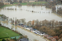 © Licensed to London News Pictures. 09/01/2014. Oxford, UK. Flooded boathouses at Christ Church Meadow. Flooding in Oxford today 9th January 2014. Persistent rainfall across the UK, including in Oxford, has led to rising water levels on rivers. Photo credit : Air Experiences/LNP