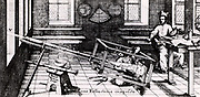 Projecting the image of the Sun through a refracting telescope on to a screen in order to study sunpots.   From 'Rosa Ursina' by Christoph Scheiner (Bracciano, 1630). Engraving.