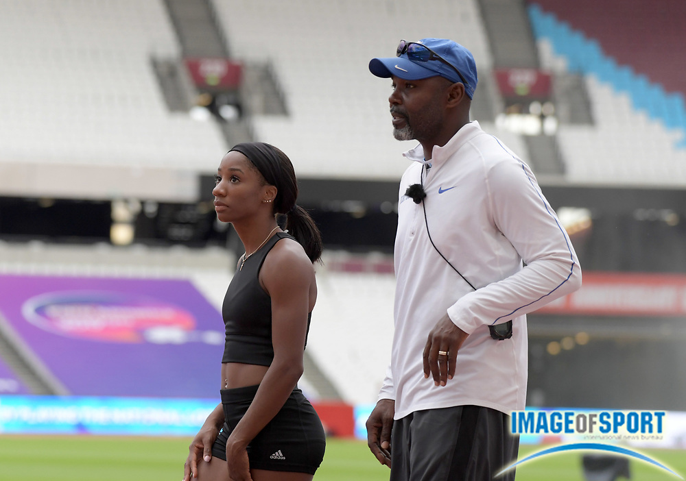 Kentucky Wildcats coach Edrick Floreal (right) and Kendra Harrison aka Keni Harrison during a training session prior to an IAAF Diamond League meet for the London Anniversary Games at Olympic Stadium in London on Saturday, July 8, 2017.