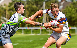 Whitehavens' Jordan Burns in action during todays match<br /> <br /> Photographer Craig Thomas/Replay Images<br /> <br /> Betfred League 1 - West Wales Raiders v Whitehaven  - Saturday 23rd June 2018 - Stebonheath Park - Llanelli<br /> <br /> World Copyright © 2017 Replay Images. All rights reserved. info@replayimages.co.uk - www.replayimages.co.uk