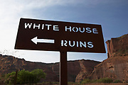 An information sign directing to the White House Ruins, Canyon de Chelly, Arizona