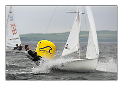470 Class European Championships Largs - Day 1.Racing in grey and variable conditions on the Clyde..SUI12, Fiona TESTUZ, Anne-sophie THILO, Club Nautique Pully