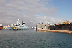 © under license to London News Pictures.  04/04/2012  HMS DAUNTLESS LEAVES  PORTSMOUTH FOR A 6 MONTH TOUR OF DUTY IN THE FALKLAND ISLANDS - HER FIRST DEPLOYMENT. Picture credit should read: Bryan Moffat/London News Pictures
