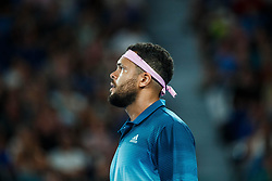 January 18, 2019 - Melbourne, VIC, U.S. - MELBOURNE, VIC - JANUARY 17: JO-WILFRIED TSONGA (FRA) during day four match of the 2019 Australian Open on January 17, 2019 at Melbourne Park Tennis Centre Melbourne, Australia (Photo by Chaz Niell/Icon Sportswire) (Credit Image: © Chaz Niell/Icon SMI via ZUMA Press)
