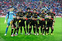 BILDET INNGÅR IKKE I FASTAVTALENE PÅ NETT MEN MÅ KJØPES SEPARAT<br /> <br /> Fotball<br /> Wales v Belgia<br /> 07.09.2012<br /> Foto: PhotoNews/Digitalsport<br /> NORWAY ONLY<br /> <br /> the red devils  celebrates the win with teammates  pictured in Cardiff city stadium during qualification world cup Brazil 2014 match Wales vs Belgium on september 7 in Cardiff Wales<br /> Lagbilde Belgia