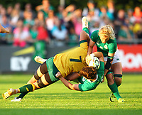 Rugby Union - 2017 Women's Rugby World Cup (WRWC) - Pool C: Ireland vs. Australia<br /> <br /> Ireland's Ciara Griffin is tackled by Australia's Shannon Parry  , at the UCD Bowl, Dublin.<br /> <br /> COLORSPORT/KEN SUTTON