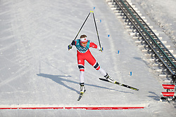 PYEONGCHANG, Feb. 15, 2018  Ragnhild Haga from Norway crosses finishing line of women's 10KM free event of country skiing at Pyeongchang 2018 Winter Olympic Games at Alpensia Cross-Country Centre, PyeongChang, South Korea, Feb. 15, 2018. Ragnhild Haga claimed champion in a time of 25:00.5. (Credit Image: © Bai Xuefei/Xinhua via ZUMA Wire)