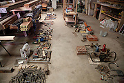 Tools on workshop floor. Pick Up Sticks Enterprises, Studio & Workshop of Architect & Artist Christopher Dukes, Kingsford, Sydney, New South Wales, Australia.