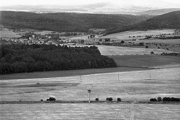 Duitsland, Wildflecken, 10-10-1987Observatiepost van het Amerikaanse leger aan de grens met Oost-Duitsland, DDR, het IJzeren Gordijn bij Fulda. De post wordt 24 uur bemand en observeert de activiteit aan de grens.Foto: Flip Franssen/Hollandse Hoogte