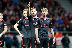 Arsenal FC's Calum Chambers, Shkodran Mustafi and Nacho Monreal during Europa League semi-final, second leg in Madrid, Spain, May 3, 2018. Atletico won 1-0 and reaches the final. Photo by Acero/Alterphotos/ABACAPRESS.COM