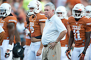 AUSTIN, TX - AUGUST 31: Head coach Mack Brown of the Texas Longhorns looks on before kickoff against the New Mexico State Aggies on August 31, 2013 at Darrell K Royal-Texas Memorial Stadium in Austin, Texas.  (Photo by Cooper Neill/Getty Images) *** Local Caption *** Mack Brown